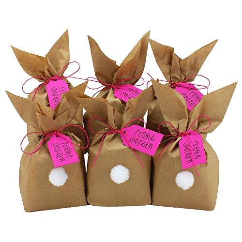 Papierdrachen 12 coniglietti pasquali fai da te e da riempire a piacere - regalo creativo per pasqua con 12 sacchetti di carta, cordoncino e pompon - per ragazza