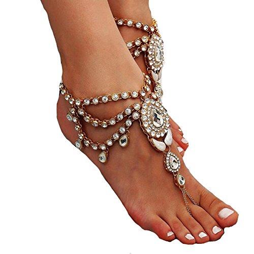 WHUI Weibliche Vintage Quaste Barfuß Sandalen Fuß Kette Golden Silber Fußkettchen Wassertropfen mit Glänzenden Strass Für Charmante Fuß Zubehör,Gold (Hochzeit Am Strand Zu Fuß)