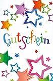 Karte Gutschein Motiv farbige Sterne mit Glimmer - Liefermenge 5 Stück