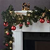Weihnachtsgirlande Tannengirlande Lichterkette 270cm 180 Spitzen 20 Lampen 16 Kugeln - Rot