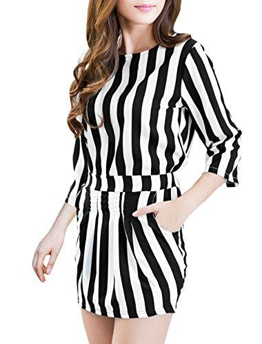 Haut col rond manches 3/4pour Femme W Taille élastique poche à jupe noir,blanc