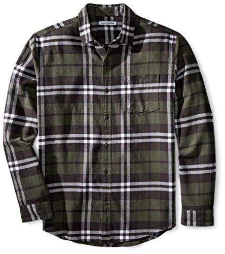 Amazon Essentials - Camisa de franela a cuadros de manga larga y ajuste regular para hombre, Verde (Olive Plaid), US S (EU S)