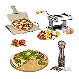 5 teiliges Italien Set Premium, Pizzastein aus Cordierit, Mit Pizzaschaufel, Bambus Pizzateller, Nudelmaschine, Pfeffermühle