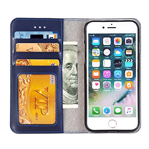 iPhone Case Cover 2 en 1 pour iPhone 6 & 6s Horizontal Flip cas en cuir avec séparable magnétique Back Cover Shell & Crad Slots & Wallet & Cadre photo ( Color : Brown ) Dark blue