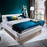 Pharao24 Balkenbett in White Wash Fichte Massivholz Breite 178 cm Liegefläche 160x200