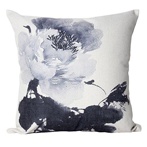 Nunubee kissenbezug Chinesischer Tintenmalerei Stil deko kissen deko wohnzimmer Autodekoration sofa cover, Stil 3 45x45cm -