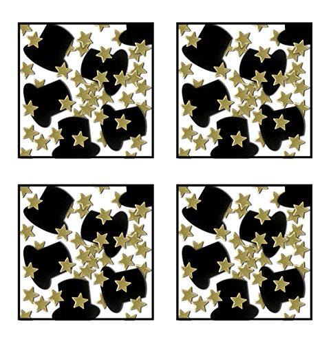 Beistle s50647gdaz4, 4Pakete Fanci Fetti Top Hats und Mini Sterne, 1Unze von Konfetti in Paket, insgesamt 4Unzen Konfetti (schwarz/gold) (Gold 4 1 Unze)