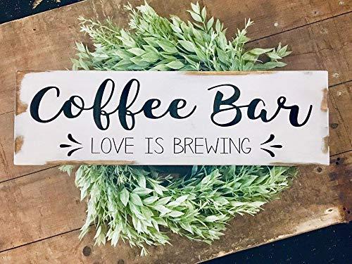 qidushop Coffee Bar weiß rustikales Holz bemalt Schild Coffee Bar Love is Brewing Schild Coffee Bar Farmhouse rustikale Schilder handbemalte Holzschilder mit Zitaten -