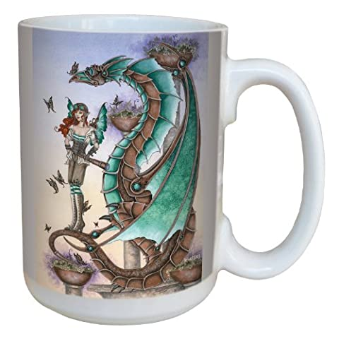 Tree-Free Greetings lm43593 15 oz Fantasy Mechanical Mischief Dragon and Fairy Ceramic Mug with Full Sized