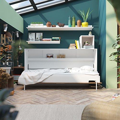 SMARTBett Basic 90×200 Horizontal Weiss/Nussbaum Schrankbett | ausklappbares Wandbett, ideal geeignet als Wandklappbett fürs Gästezimmer, Büro, Wohnzimmer, Schlafzimmer - 2