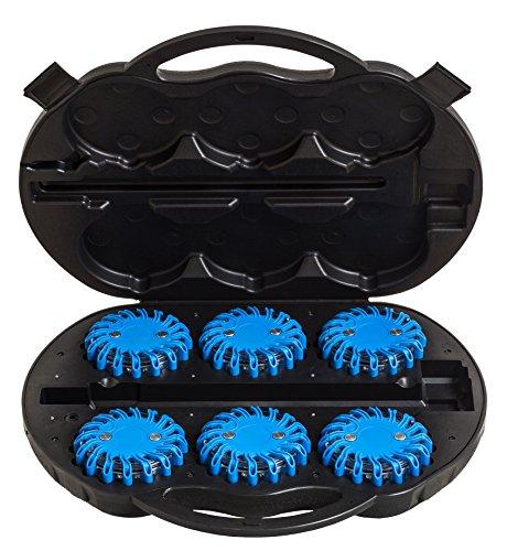 UvV PowerLED 6 blaues Warnleuchten Kofferset Unfall, Notfall, Leuchten Escape-Light Koffer Akku LED 12V/220V