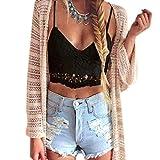 Mode Damen Weste,Xinan Frauen Crochet Behälter-Unterhemd Spitze Weste Bluse Bralet Bra Crop Top (M, Schwarz)