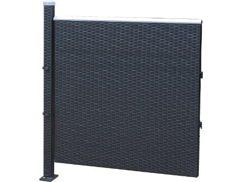 Poly-Rattan Sichtschutz / Zaun erweiterungselement 90cm schwarz von Prime Tech