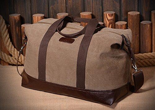 Grande capacità borsa per gli uomini Tela borsa a tracolla Modalità Travel Bag Corpo Croce Borsa-Grigio Marrone