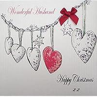 WHITE COTTON CARDS Wonderful Husband Happy, Handmade Christmas Card (Heart Garland, Code EX651)