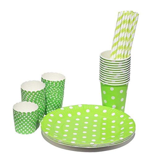Preisvergleich Produktbild Partyset Punkte Geschirr 74 Teile - Teller, Becher, Trinkhalme, Muffinformen (grün)