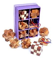 Idea Regalo - Logica Giochi SET LEGNO 6 IN 1 Rompicapo in legno