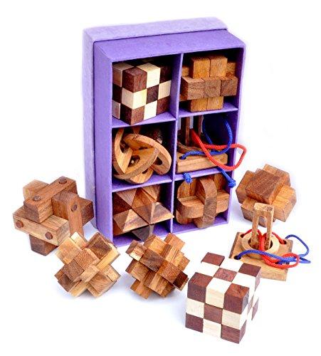 Logica giochi art. set legno 6 in 1 - scatola in carta di riso - rompicapo 3d in legno prezioso - tutte le difficoltà