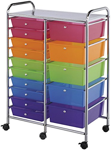 Blue Hills Studio Double Storage Cart With 15 Drawers-Multi-Color SC15MCDW