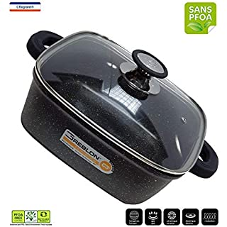 from The Kitchen Table 'cflagrant Pot Square 28x 28cm for All Heat Sources Including Induction with Lid PFOA Free Fat Free Cooking German GREBLON C3+ Coating Technology
