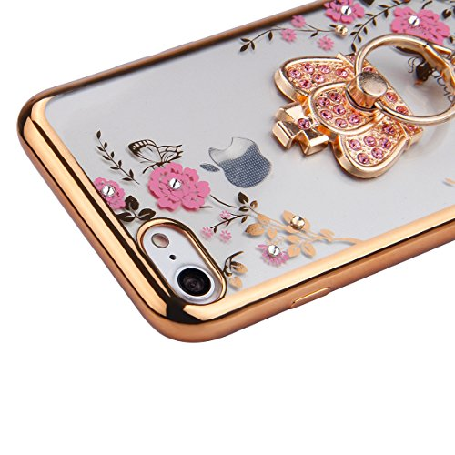 Coque pour iPhone 7/iPhone 8,iPhone 7 Or Rose Coque en Silicone Clair Ultra-Mince Etui Housse avec Bling Diamant,iPhone 7 Placage Coque Bling Bling Glitter Sparkle Diamond Silicone Case Rose Rose Gold Or couronne impériale-Fleurs Roses