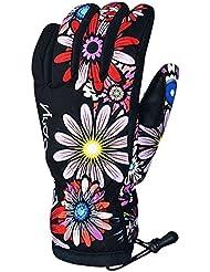 Panegy Nuevo Guantes de Esquí Impermeable a Prueba de Viento Invierno Cálido Ski Gloves para Hombre Mujer Snowboard Snowmobile Al Aire Libre - Flores - Talla S