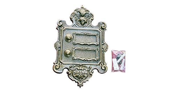 Messing Klingel 2 Klingelschild Klingelplatte Brass Door Bell Türklingel K42A