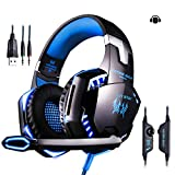 LinStar Gaming Headset, G2000 Stereo Gamer Kopfhörer mit Mikrofon Headset mit Mikrofon LED-Leuchten und Lautstärkeregler für Laptop, PC, Mac, iPad, Smartphones
