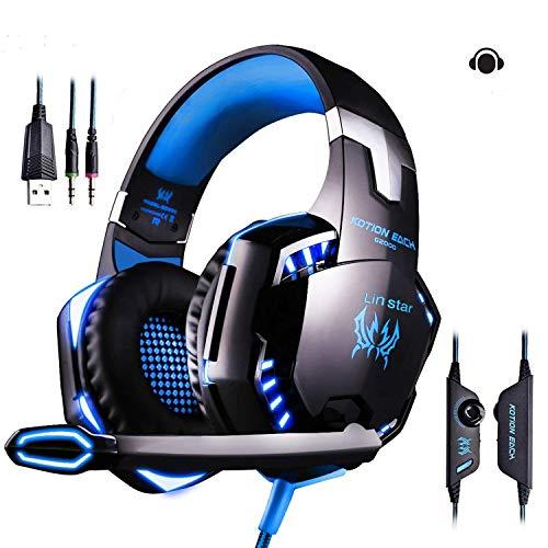 LinStar Gaming Headset, G2000 Stereo Gamer Kopfhörer mit Mikrofon Headset mit Mikrofon LED-Leuchten und Lautstärkeregler für Laptop, PC, Mac, iPad, Smartphones - Vergrößern 360 Xbox