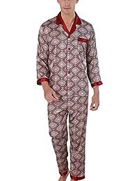53198f4e38 Men s Pajamas Set Silk Long Sleeves Plus-size Leisure Wear with Top Pants