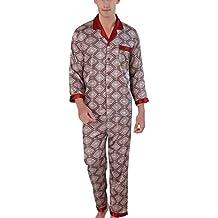 Yanqinger - Set de 2 Piezas Pijamas de Satén Hombre Elegante Sleepwear Respirable Estampado Cuadros con