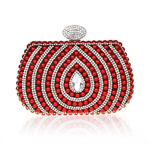 Imitation Perle Strass Designer Damentasche Tasche Clutches Handtasche Abendtasche Unterarmtasche (Rot) Kaxidy QVGAxFuvN4