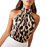 Yvelands Damen Weste Tank top T-Shirt Leopard Printed Neckholder Cami Weste Abend Party Tops Bluse