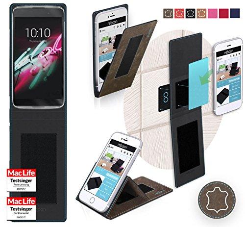 reboon Hülle für Alcatel OneTouch Idol 3C Tasche Cover Case Bumper | Braun Wildleder | Testsieger