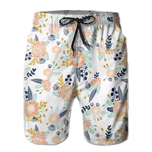 goodsale2019 Florals Peach Navy Blue Herren Badehose Beach Shorts mit Mesh-Futter Boardshort -