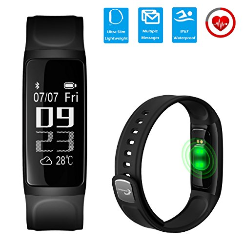 CHEREEKI [2018 Nuova Versione] Slim Fitness Tracker (Soft Strap) IP67 frequenza cardiaca Waterproof Touch Screen Activity Tracker Leggi ID chiamante Messaggi SMS da Facebook ecc per Android e iOS