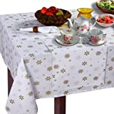 Homescapes - Christmas - Tablecloth - Gold Snowflake - X Mas design - 54 x 70 Inch -100% Cotton - White and Gold Colour - Washable at Home