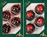 Weihnachtsrot/Satin-Rot, Kugelset Dekor Heilige Nacht 2-fach 6,7 cm