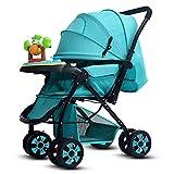 HJFBW Kinderwagen Buggy Faltbar Travel Buggy 5 Punkt Gurtsystem Schwenkbar Regenschutz Kinderwagen,Blue