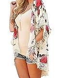Minetom Donna Cuciture Pizzo Cardigan Camicetta Top Cover Up Lungo di Chiffon Copricostume Stampa Floreale Kimono per Spiaggia Bianco IT 44