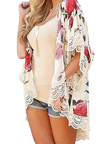 Minetom donna cuciture pizzo cardigan camicetta top cover up lungo di chiffon copricostume stampa floreale kimono per spiaggia bianco it 40