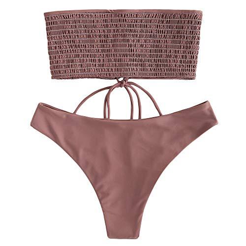 ZAFUL Damen Bandeau Bikini-Set Smocked Bikinis mit Schnürung Bademode Bikini Set Badeanzug Swimwear Swimsuit Dunkel RosaMedium