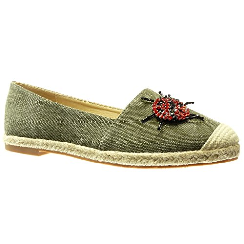 Angkorly - Damen Schuhe Espadrilles Mokassin - Slip-On - Jeans Denim - Schmuck - Bestickt - Fantasy Blockabsatz 2 cm - Grüne RS135 T 40 - Bestickt Espadrilles