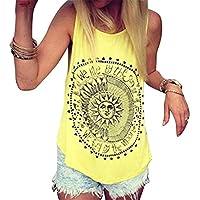 CRYYU Womens Beach Sleeveless Floral Loose Summer Tank Top Cami Blouse Shirt Yellow XXS
