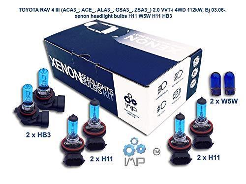 Ampoules de phares xénon lumineux| DIY, Kit simple d'utilisation | Compatible H11,H11,HB3 Plus ampoules éclairage latéral gratuites W5W