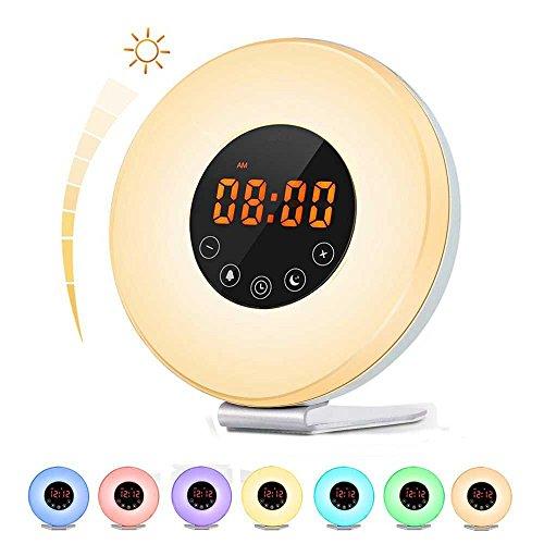 Lichtwecker Wake Up Licht Wecker Coulax Nachtlicht mit Intelligente Schlummerfunktion, Nachttisch Licht, 7 Farblicht, 6 Helligkeitsstufen, FM Radio, Fackelsteuerung und USB Ladegerät (Neue Version)