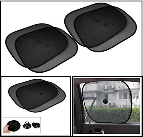 Generic (unbranded) Universal Car Window Sunshades with Vacuum Cups (Set of 4, Black)