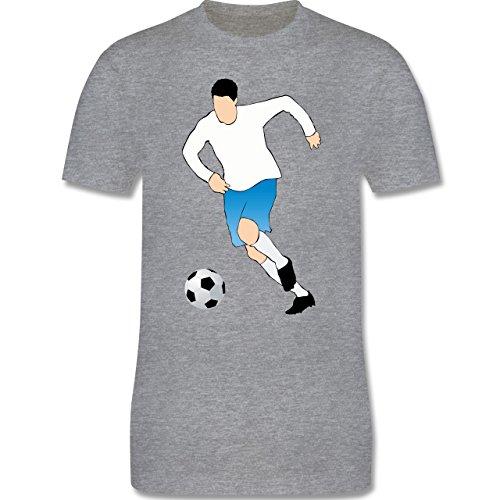 Fußball - Fußballspieler Ballbesitz Angriff Tor - Herren Premium T-Shirt Grau Meliert