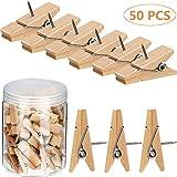 50 Stück Push Pins Clips Holz Foto Pins Pushpins mit Holzclips für Kork Bretter Kunstwerke Bastel Projekte Lieferungen (Farbe 1)