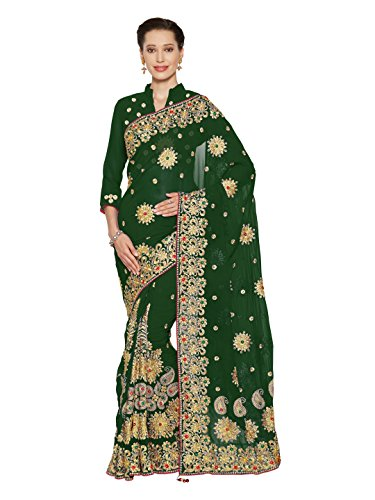 SOURBH Women's Heavy Embroidered Wedding Bridal Saree with blouse piece (3795_Green)